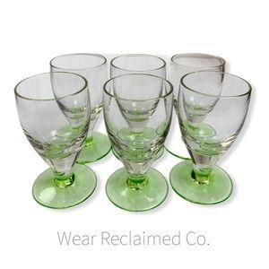 Vintage Set of 6 Uranium Green Sherry/Wine Glasses